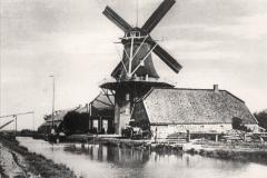 """(03) Die Windmühle Spetzerfehn um 1900. Sie wurde 1886 erbaut – nachdem die Vorgängermühle infolge Blitzeinschlags abgebrannt war. Vor der Mühlenkappe ist der sogenannte """"Steert"""" (Sterz oder Vordrehbaum) zu sehen, der später abgebaut wurde."""