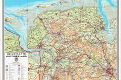 """(01) Die """"Heimatkarte von Ostfriesland"""" (Ernst Völker Verlag) wurde 1954/55 gedruckt und in den 1980er Jahren um die neuen Autobahnen ergänzt. (Veröffentlichung auf dieser Webseite mit freundlicher Genehmigung des Verlags.) Johann Schoon lebte in Spetzerfehn (südöstl. von Aurich). Seine Geschichten bzw. Texte sind angesiedelt in der Fehn-, Geest- und Moorlandschaft Ostfrieslands."""